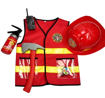 Umorden Kids Firefighter Cosplay Little Fireman Firemen Costume Uniform for Boy Child Halloween Carnival Party Costumes for Boys umorden child kids wonderland alice costume for girls teen girl maid lolita cosplay dress halloween carnival party costumes