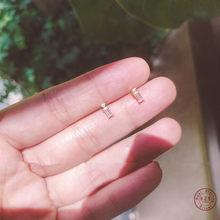 925 Sterling Zilver Eenvoudige Vierkante Kristal Stud Oorbellen Vrouwen Zoete Romantische Bruiloft 14K Gouden Sieraden Accessoires Geschenken