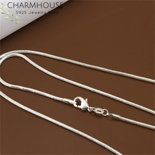 Charmhouse Pure Silver 925 Necklaces For Men Women 16-24inch 2mm Snake Chain Necklace Collier Fashion Jewelry Accessories Bijoux pure 925 silver necklaces for women key pendant necklace 2mm ball chain collier femme choker fashion jewelry accesories bijoux