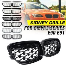 4Pcs/Pair Auto Front Bumper Kidney Grille Racing Grill + Upper Hood Eyelids For BMW 3 Series E90 E91 M3 2005 2006 2007 2008