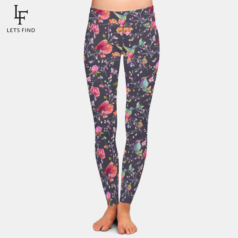 LETSFIND Birds Butterflies And Flowers Digital Printing Women High Waist Leggings High Elastic Plus Size Soft Fitness Pants