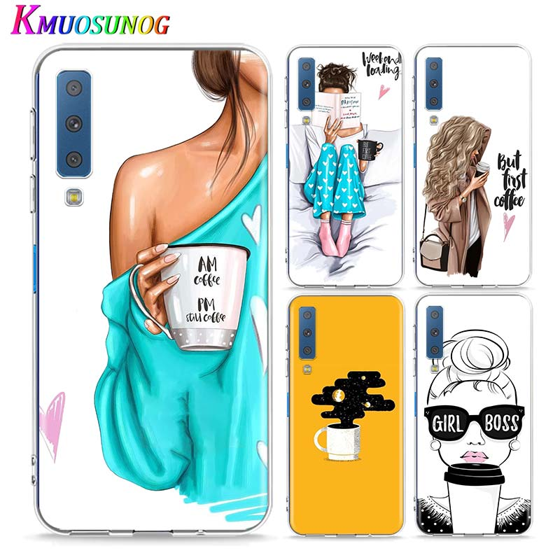 Clear Soft TPU Cover OK but first coffee for Samsung Galaxy A9 A750 A8 Star A7 A6 Plus 2018 <font><b>A5</b></font> A3 2017 <font><b>2016</b></font> Phone Case image