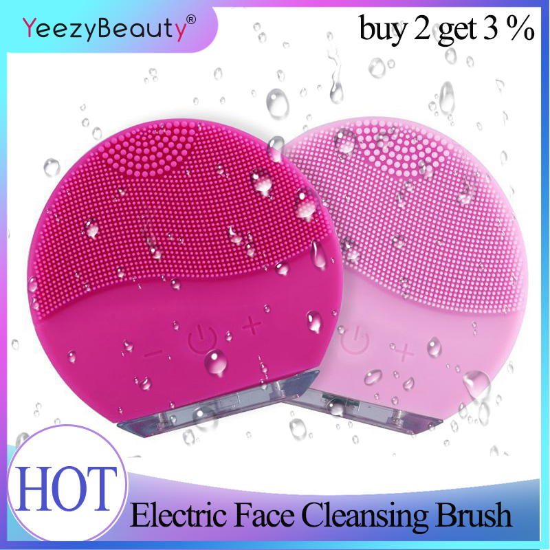 Mini 2 Electric Face Cleansing Brush Silicone Sonic Pore Facial Cleansing Waterproof Face Scrubber Wireless Charging