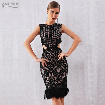 Adyce 2020 New Summer Feather Bandage Dress Women Elegant Black Sleeveless Sexy Bodycon Club Lace Celebrity Runway Party Dress summer satin sexy backless lace up slim bodycon dress sexy club sleeveless bandage dresses women sexy party dress