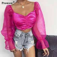 Mesh Patchwork Satin Blouse Rose Women 2020 Spring Summer Streetwear Casual Off Shoulder Long Puff Sleeve Ruched Sexy Crop Tops