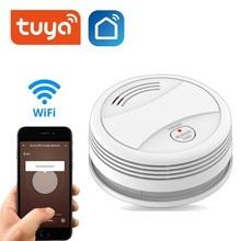 Wi fi tuya inteligente detector de fumaça sensor 80db alarme de incêndio detector de fumaça wi fi proteção contra incêndio segurança em casa inteligente vida app