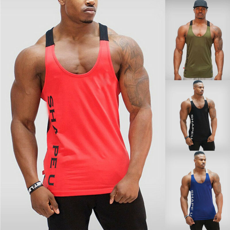 Gym Men Bodybuilding Tank Top Muscle Stringer Athletic Fittness Shirt Clothes Running Vests