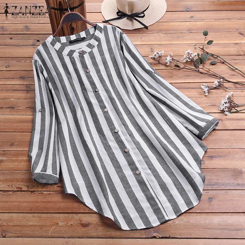 Women Casual Blouse Spring Vintage Striped Long Sleeve Tops ZANZEA Plus Size Asymmetrical Blusas Female Work Shirt Tunic Mujer