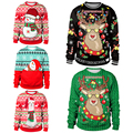 2019 pulôver das mulheres hoodies dos homens blusas topos feio camisola de natal santa elf funnyautumn roupas de inverno