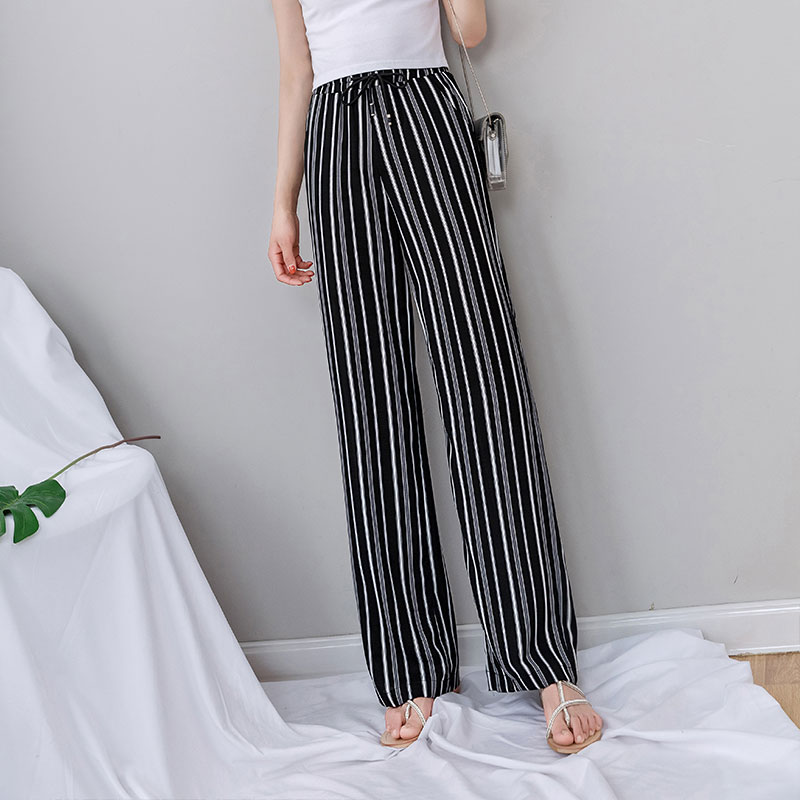 Black Striped   Wide     Leg     Pants   Women 2019 Summer Chiffon Loose White Striped Palazzo   Pants   Plus Size Women's   Pants   with High Waist
