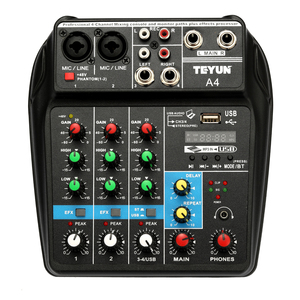 Image 3 - TU04 BT 4 Channels Sound Mixing Console Record 48V Phantom Power Monitor AUX Paths Plus Effects Audio Mixer with USB