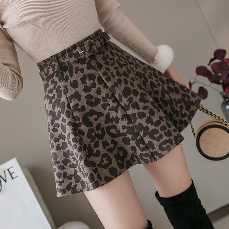 One-Piece Autumn And Winter New Style Thick Leopord Pattern Woolen Eight Chip Reduction Years Leather Belt Small Full Skirt Wome