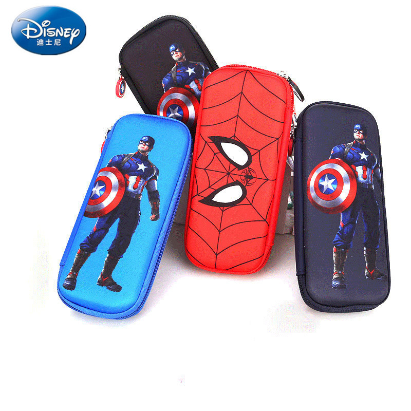 Captain America Spiderman Cartoon Large Capacity Pencil Case Multifunctional Stationery Iron Man School Supplies Disney Boy Gift