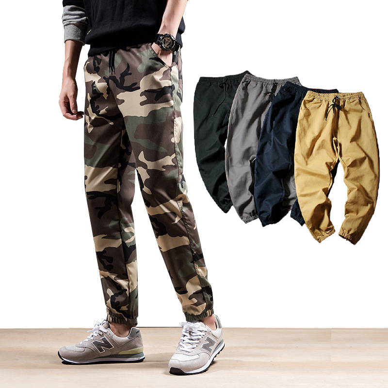2019 Autumn New Style Men Uniforms Camouflage Pants Beam Leg Sports Training Casual Pants Couples Skinny Harem Trousers