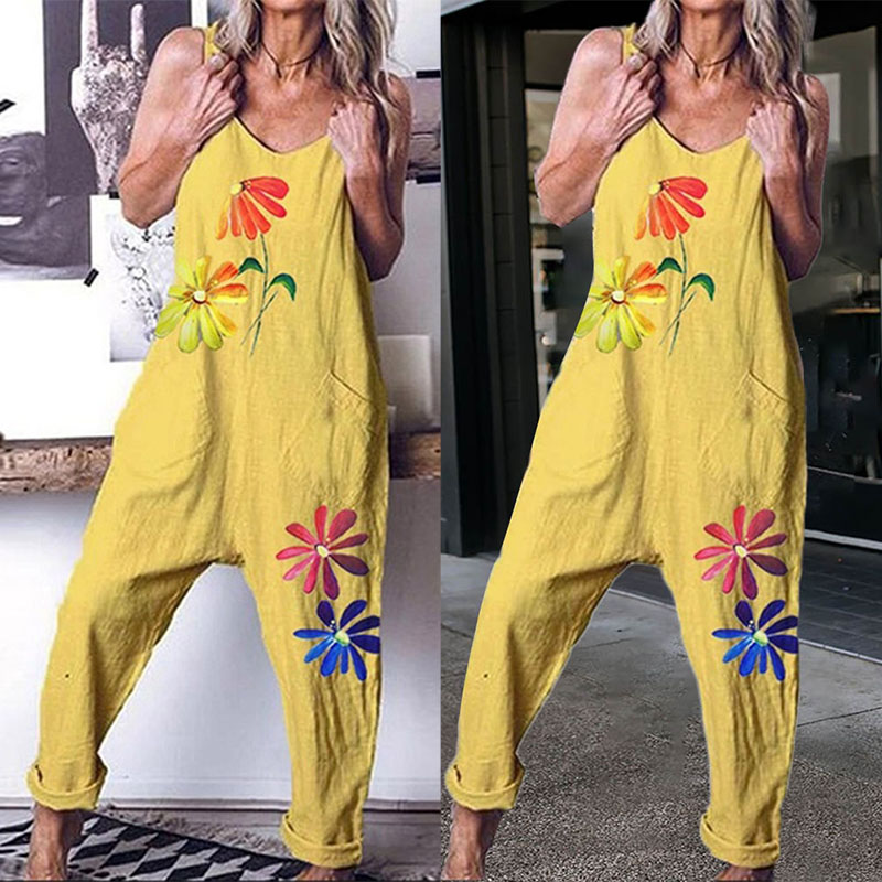 Size M-2XL Summer Women Fashion Loose Sleeveless V Neck Flower Printed Jumpsuit Baggy Pants Harem Pants Slacks Overalls