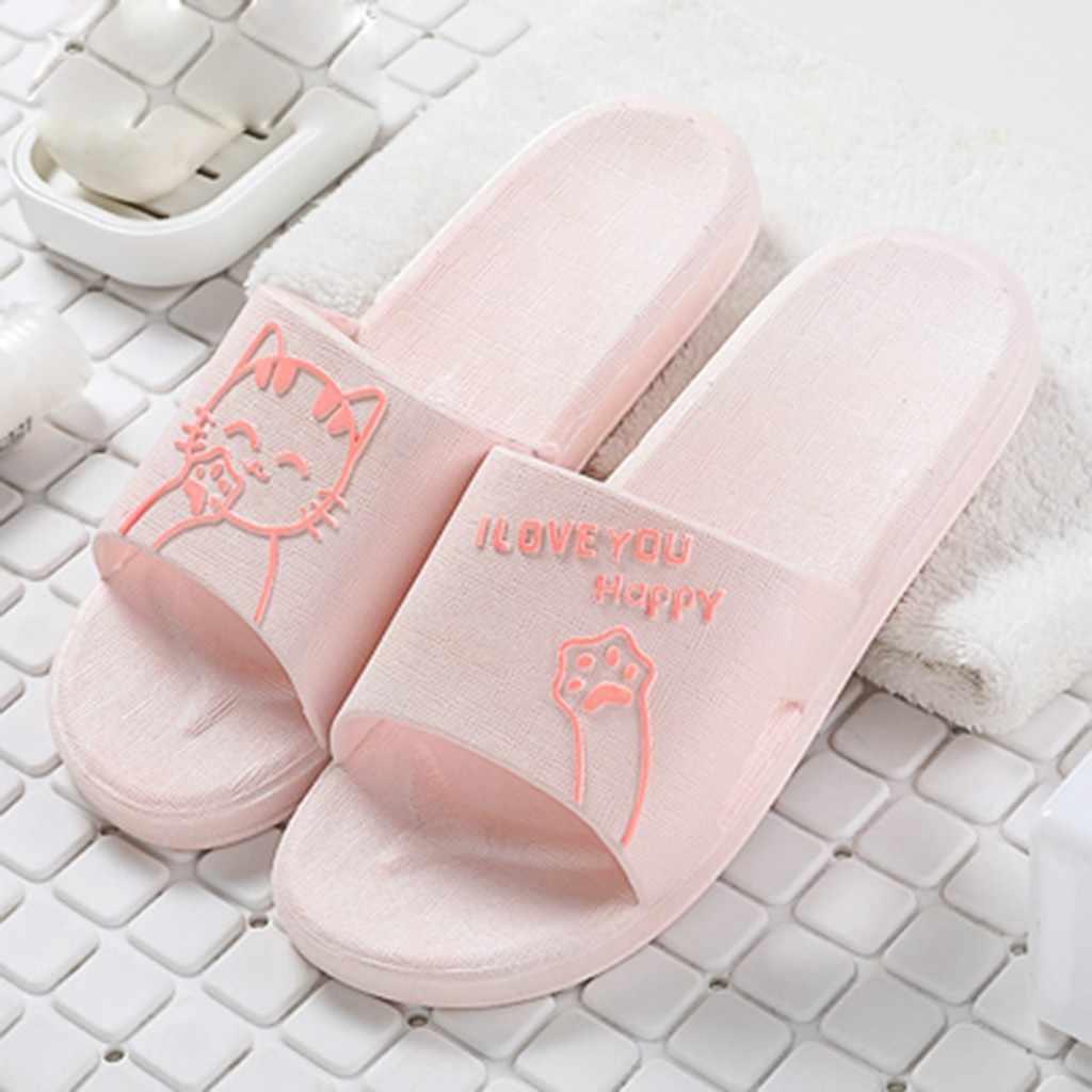 2020 piękny kot Cartoon gumowe kapcie dla kobiet lato domu kryty dorywczo prysznic buty sypialnia wanna pantofel płaski obcas obuwie