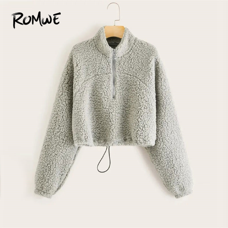 ROMWE Zip Half Placket Drawstring Teddy Sweatshirt Women Kpop Crop Top Hoodie 2019 Winter Clothes Grey Stand Collar Sweatshirts