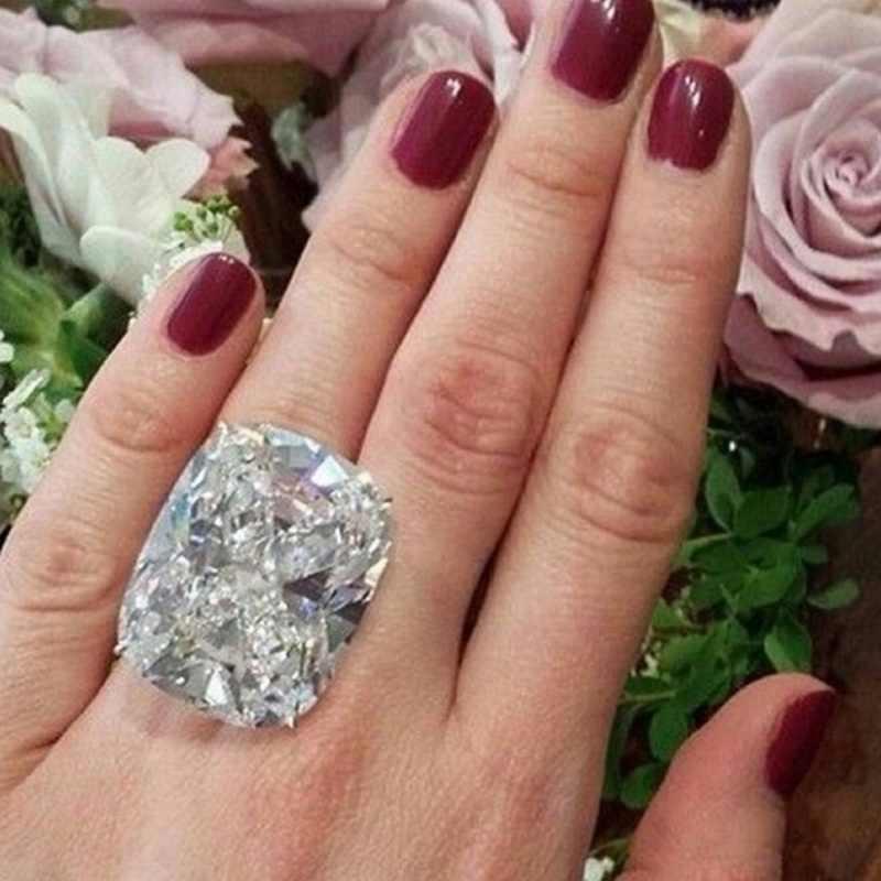 Fashion Luxury White Silver Zircon Ring Lady Elegant Big AAA Zircon Oval Rhinestone Wedding Bridal Ring Jewelry