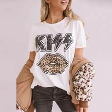 2020 verão algodão solto camiseta topos streetwear manga curta tshirt leopardo lábios beijo impresso em torno do pescoço