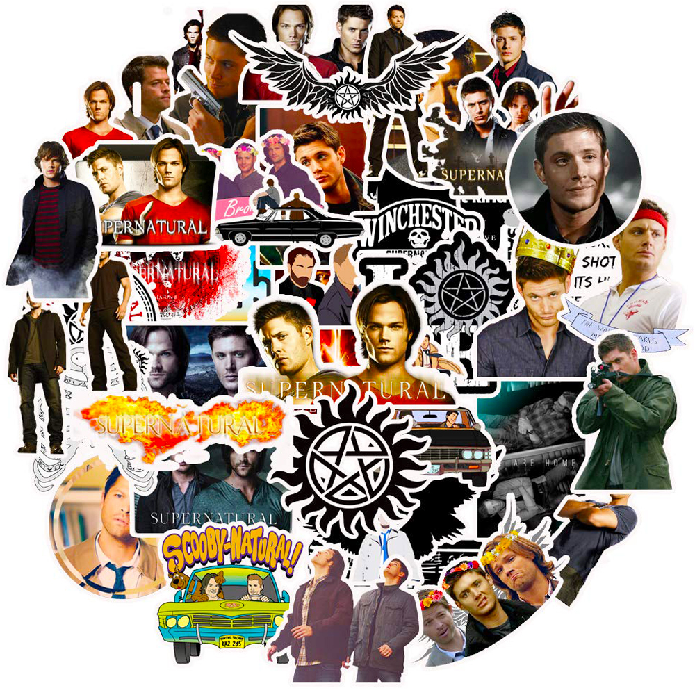 50PCS TV Show Supernatural Stickers Skateboard Motorcycle Laptop Phone Travel Luggage Waterproof PVC Joke Classic Toy Stickers