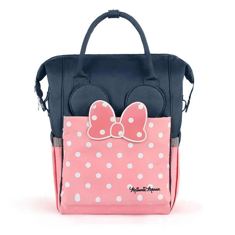 Disney plecak na pieluchy mumia torby izolacyjne torba na pieluchy termiczne o dużej pojemności karmienie dziecka torby na butelki plecak torebki dziecięce