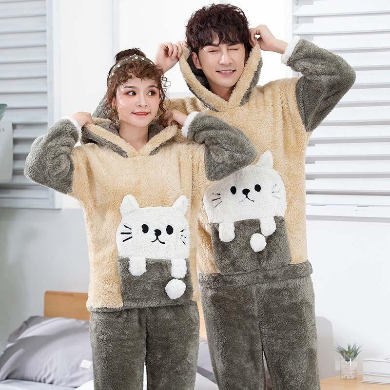 Couple Pajamas Unisex Adult Winter Warm Men Pajamas Set 2 Pieces Thicken Home Wear Flannel Sleepwear Long Sleeve Male Pijamas