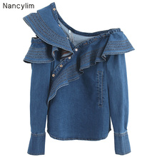 2019 Autumn Women's Denim Shirt New Long Sleeve Lotus Leaf Edge Shoulderless Design Jean Blouse Lady Sexy Tops long sleeve patch design suede insert denim shirt