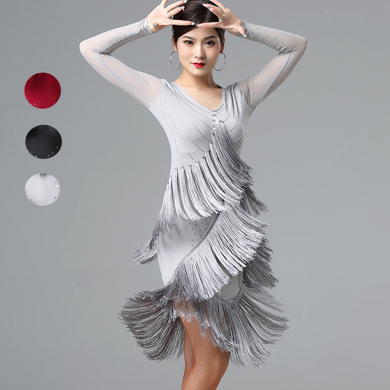 New Latin Dance Dress Female Dance Dress New Performance Dress Cha Cha Rumba Fringe Dress Latin Dance Competition Dresses DB1255