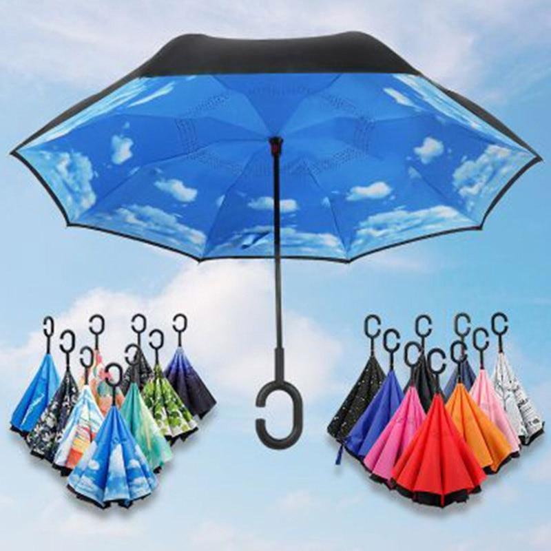 Reverse Umbrella Double Inverted Weatherproof Umbrella Car Female Models Are Not Holding The Wet Body Car Special Umbrella Print