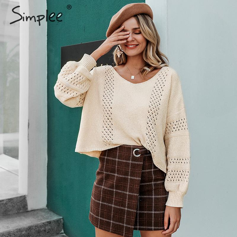 Simplee Hollow Out Pullover Sweater Women Autumn Winter O-neck Female Sweater Casual Soft Lantern Sleeve Ladies Jumper Sweater