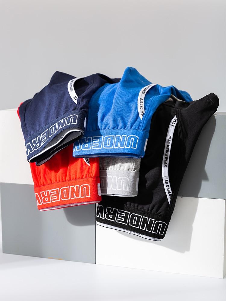 Male Panties Underwear Boxers Shorts Men Comfortable Cotton Brand 4pcs 365 Solid