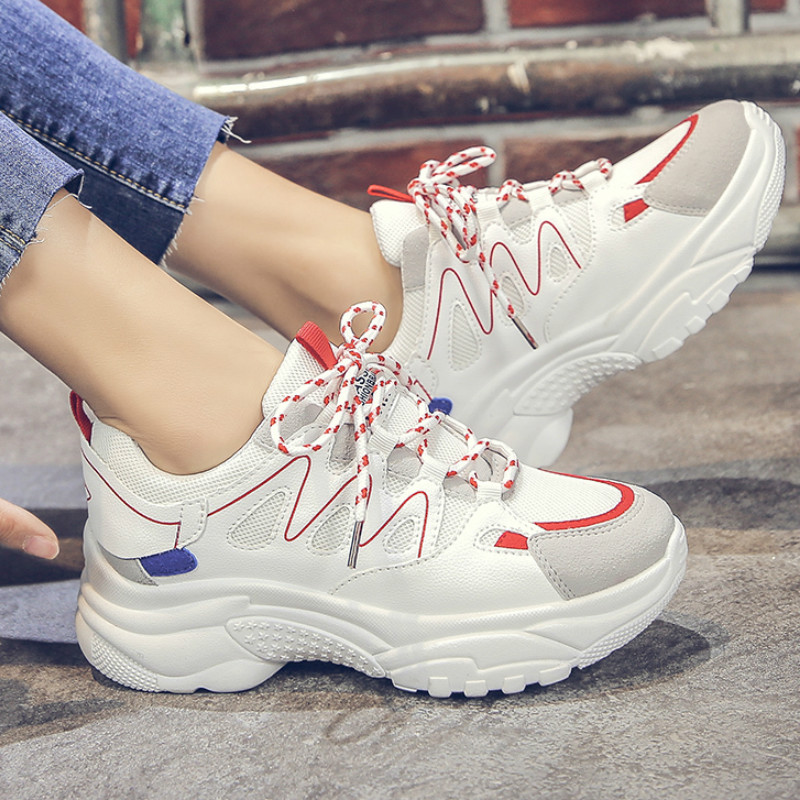 Trendy Women Sneakers Thick Sole Ladies Platform Shoes Web Celebrity Chunky Dad Sneakers Chaussures Femme Buty Damskie