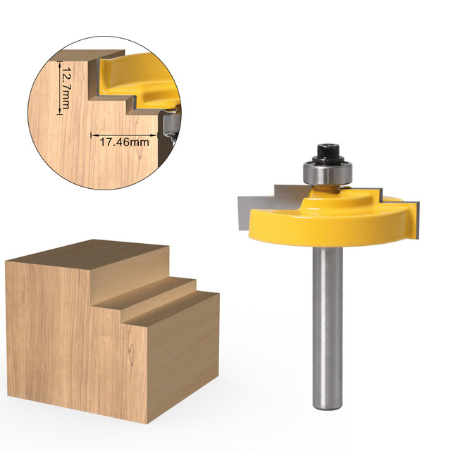 "1 pieza de 1/2 ""12,7 MM cortador de caña de madera tallado marco de cuadro escalonado Rabbet moldura Router Bit C3 carburo con punta para madera"