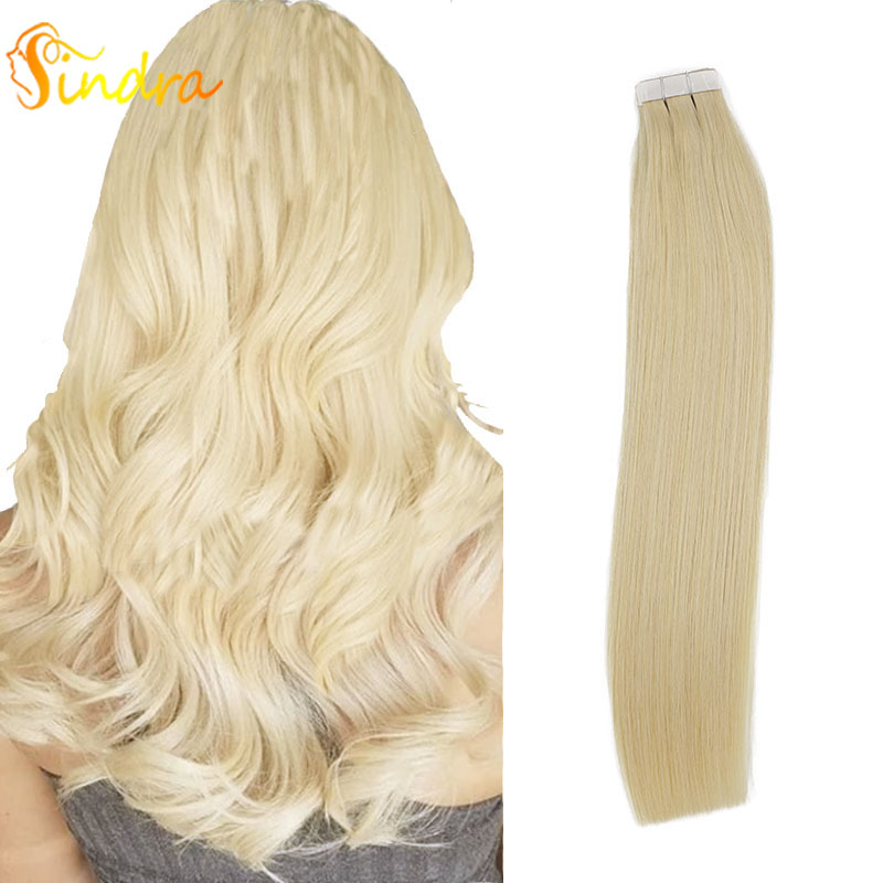 Sindra Tape In Real Human Hair Extensions  Straight Remy Hair Seamless Skin Weft Adhesive European Hair Extension