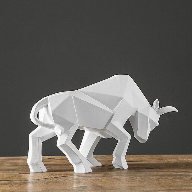 Bull Sculpture Abstract Geometric Bison Ox Resin Statue Office Decoration Home Art Animal Craft Ornament Accessories Kids Gift 4