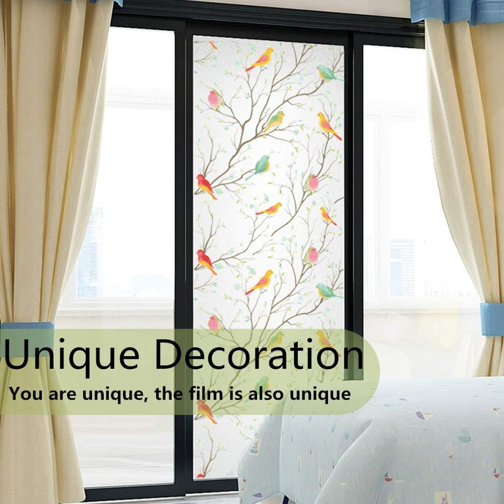 Matte 3D Privacy Window Film Non-Adhesive Frosted Bird Decorative Vinyl Glass Film Static Cling Stained Window Stickers for Home 4