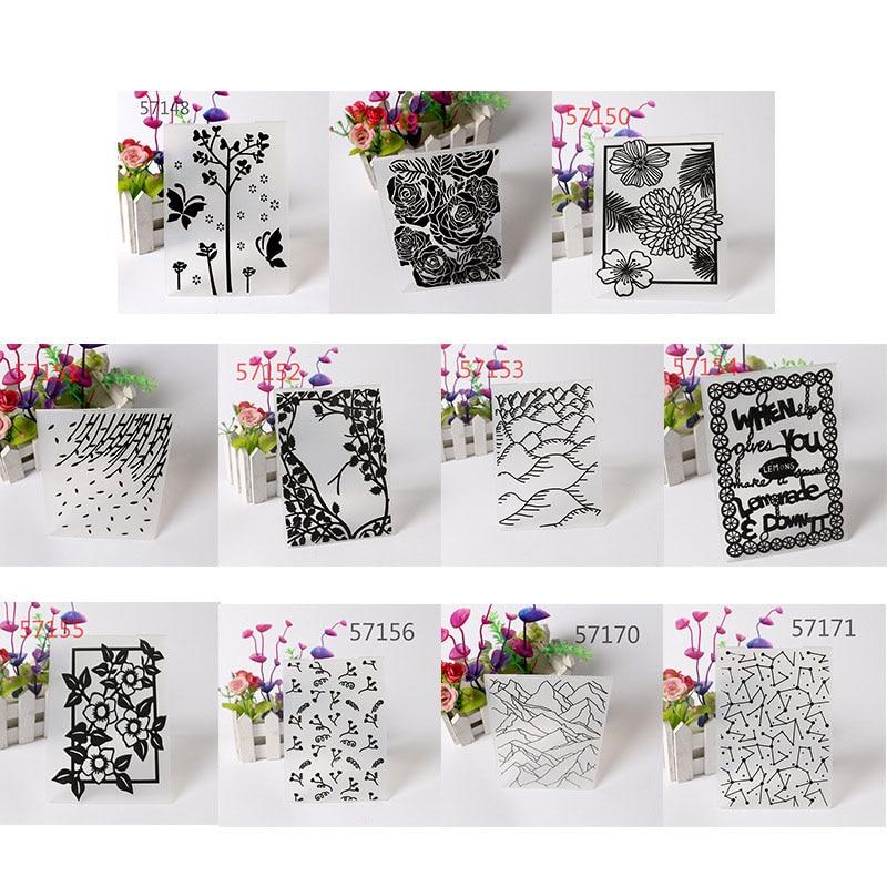 6 Pack Flower Embossing Folders DIY Craft Scrapbooking Photo Album Card Decoration Template Mold Plastic Embossing Folder Cutting Dies Stencils Template Molds Tools for Cards Scrapbooking Making