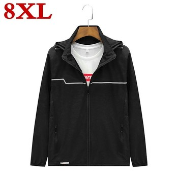 plus size 8XL 7XL 6XL 2020  New Spring Summer Mens Fashion Outerwear Windbreaker Men' S Thin Jackets Hooded Casual Sporting Coat
