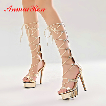 ANMAIRON Gladiator Sandals Women Casual 2020 Genuine Leather Lace-Up Sexy Thin High Heels Cross-tied Cover Heel Womens Shoes фото