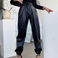 Pantalones largos de piel sintética para mujer, pantalón a la moda, color negro, con cordón de cintura alta, prendas elásticas