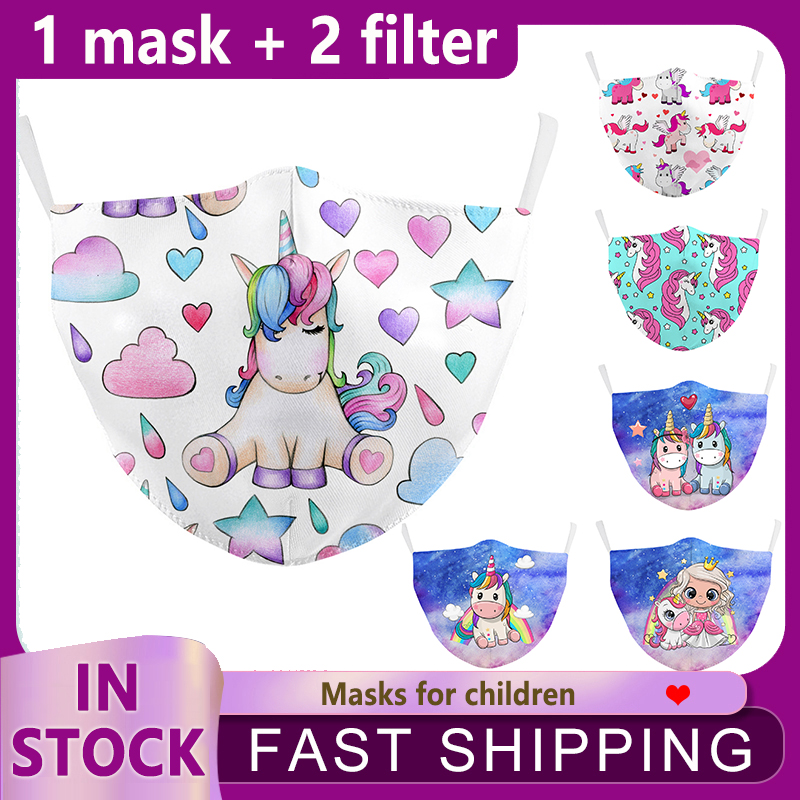 Детские маски с принтом единорога пончиков маска для лица с фильтром Пылезащитная маска для рта Моющиеся Многоразовые маски для детей