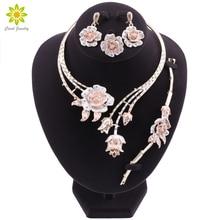 나이지리아 클래식 보석 세트 우아한 신부 웨딩 꽃 모양의 목걸이 귀걸이 팔찌 반지 두바이 여성을위한 설정