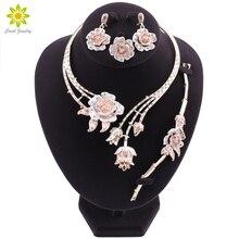 Ensembles de bijoux classiques nigérians, pour mariée élégante, pour mariage, en forme de fleur, collier boucles doreilles, Bracelet, bague, pour femmes de dubaï