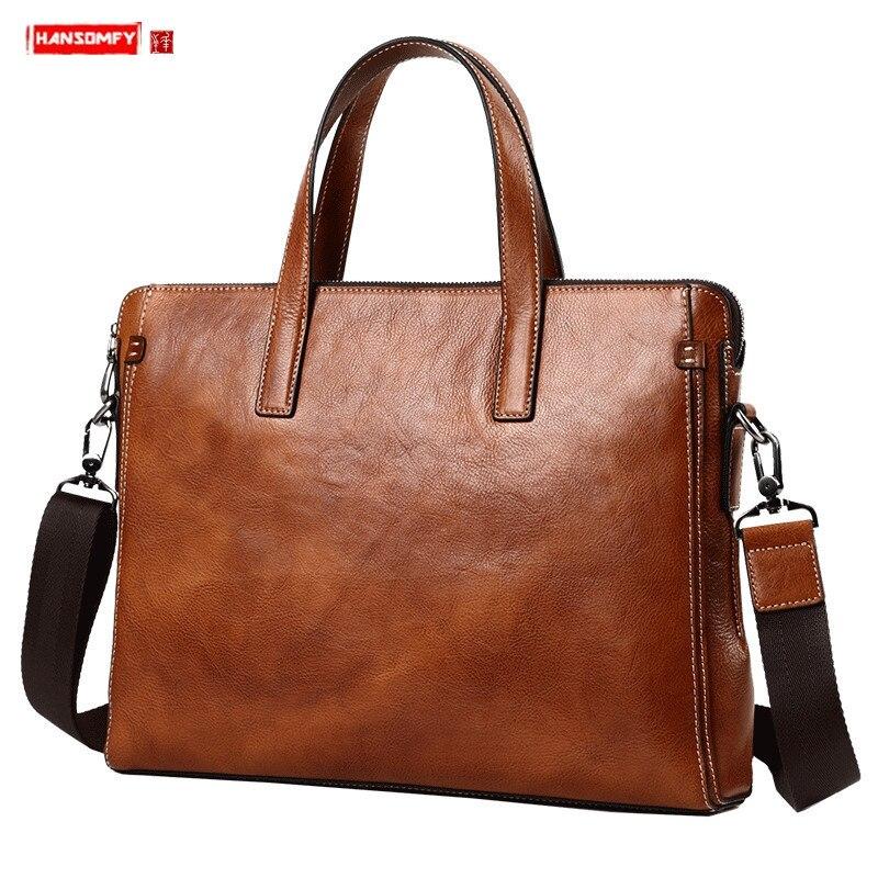Genuine Leather Men's Handbag Briefcase Shoulder Messenger Bag Men Business 14 Inch Laptop Bag Travel Bags High Quality Leather