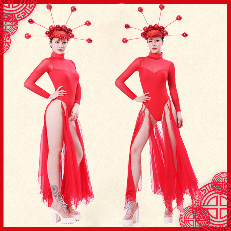 Red Mesh jumpsuit Valentine's Day Bar <font><b>Ds</b></font> <font><b>Costume</b></font> <font><b>Sexy</b></font> <font><b>Stage</b></font> <font><b>Costumes</b></font> <font><b>For</b></font> <font><b>Singer</b></font> <font><b>Sexy</b></font> Nightclub Dj Female <font><b>Singer</b></font> Dance Clothes image