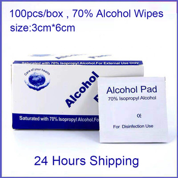 100pcs Alcohol Wipes Pad 70% Ispropyl Disposable Disinfection Prep Swap Pad Antiseptic Skin Cleaning Care Clean Wipes