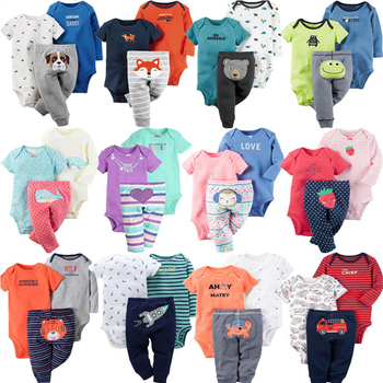 Baby Girl Clothes Set 100% Cotton Long Sleeve Bodysuit +Trousers+Short Jumpsuit 3Pcs/Lot Newborn Bebes Infant Clothing
