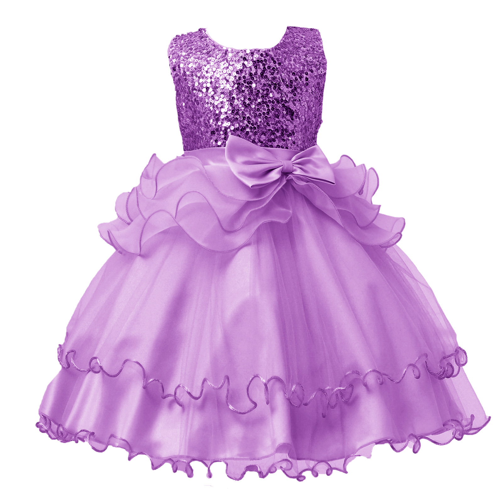 CHILDREN'S Full Dress Sequin Princess Bow Dress Wedding Flower Boys/Flower Girls Mesh Skirt Birthday Performance Wear