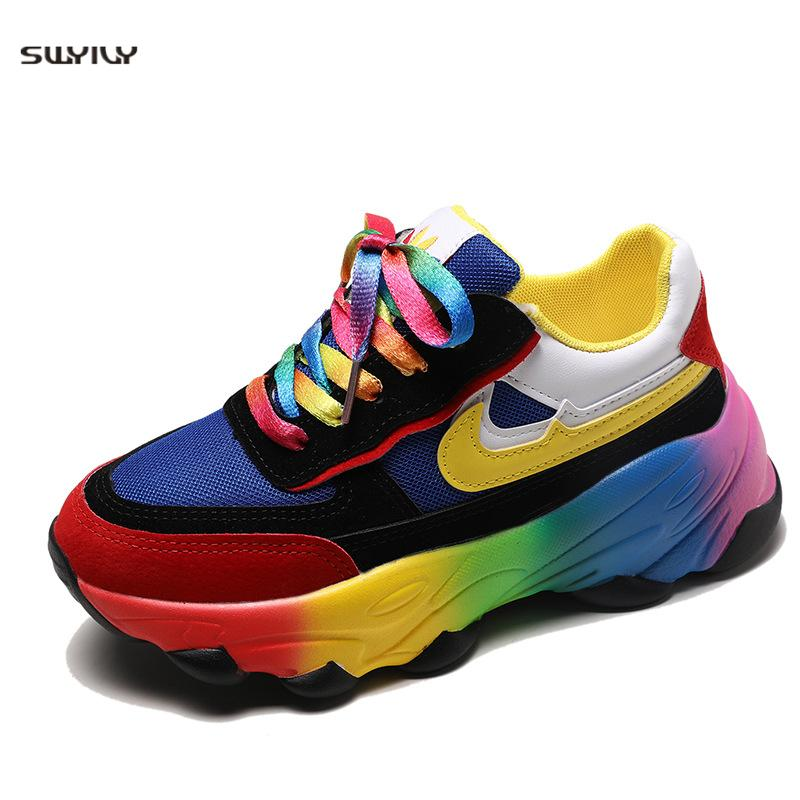 Women's Vulcanize Shoes Platform Flats Lace-Up Mesh Breathable  Mixed Color Sneakers Thick Bottom Ladies Platform Women Sneakers