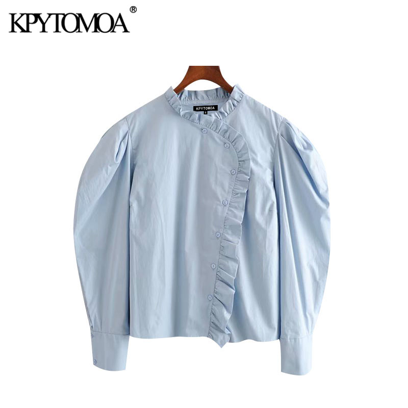 KPYTOMOA Women 2020 Sweet Fashion Ruffled Buttons Blouses Vintage Puff Sleeve Pleated Female Shirts Blusas Chic Tops